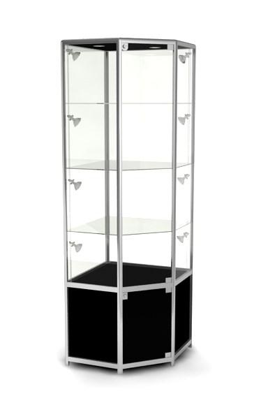 Витрина угловая высокая со шкафчиком